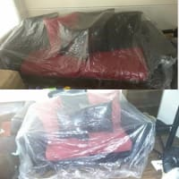 Red and black living room set, It's black leather and red long couch and a short sofa