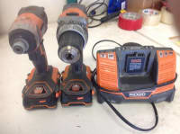 Ridgid Drill / Impact Combo, Ridgid drill and impact combo, with two good batteries and charger.  No case., Gently used