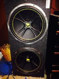 "Speakers & amp, 15"" kickers , two in a box, and sony amp 1000watt"