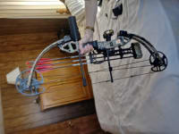 Compound bow, Bear Outbreak 15 to 70lb draw. Bow is fully loaded. Comes with arrows, quiver, three pin sights. Adjustable draw length