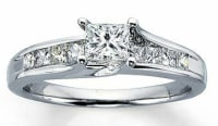 .50 carat princess cut solitaire 1.5 carat total weight wedding , Beautiful wedding set in 14 Carat white gold