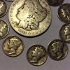 1884 Morgan Silver Dollar, 10 Mercury dimes