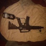 Us army alpha 2 m16 paintball marker, 1 co2 cannister large attached