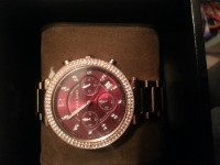 Michael kors watch, Jewelry, stainless steel 10atm, Rose gold Michael kors watch with diamonds/studs around and burgundy inside