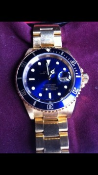 Solid gold submariner blue face , Luxury Watch, Rolex , Solid gold submarine blue face