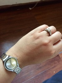Watch and ring, Jewelry, White gold diamond ring and watch, Movado watch and diamond ring.