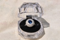 Sapphire (1.5) and Diamond Custom Ring with European Band. , Jewelry, 1.5 Round Blue Sapphire  , Custom ring with European band.  Sapphire is 1.5 round cut.  Diamonds have brilliant colors and clarity.  Sapphire is beautiful blue.