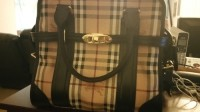 Burberry, MEDIUM HAYMARKET CHECK PORTRAIT TOTE BAG, Other, Haymarket check coated canvas tote bag with rich leather trim