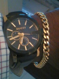 watch Gucci, Luxury Watch, Gucci swiss, Black and gold