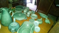Russel Wright Seafoam Vintage Dinnerwear, Antique, Collectible, I have a complete set of dinnerwear by Russel Wright that my mother n  law had. She passed away 3 months ago. It includes 6 sauces,plates, cups,medium plates,one salt and pepper shaker,bowls, pitchers, tea pot,gravy bowls and some odd shape bowls.