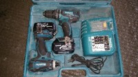 makita drill and impact set, Tools, Equipment, Makita impact screw gun and drill set two batteries and charger and case. 18 volt lithium ion