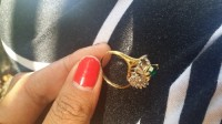 18 KT gold ring, Jewelry, green stone and small diamonds , green stone and small diamonds