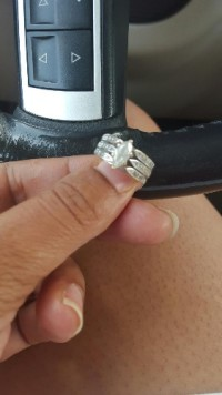 wedding ring, Jewelry, yellow gold, dipped in white gold - 1/4 marquee cut , several small diamonds surrounding the center stone