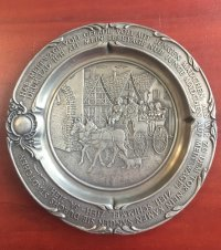 "GERMAN PEWTER PLATE, Antique, Collectible, German SKS pewter plate.  9"" in diameter."