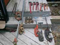 PIPE TOOLS, Pipecutters, threaders and wrenches, All in good condition , Gently used