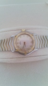 ebel classic wave gold and stainless steel watch, Luxury Watch, ebel, mother of pearl face, diamonds inside face and around face. like new