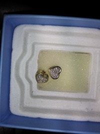 earrings, Precious Metal or Stones, 14k yellow gold, 14k gold earrings. Very small diamonds. Not sure of weighr