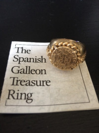 Authentic Gold Spanish Galleon Atocha Ring, Franklin Mint, 1989, Jewelry, Weighs 16 g total.  Band is 14k, Coin is 24k, Offered by the Franklin Mint in 1989. Features an authentic 24k Spanish gold coin found on the largest treasure ship ever found in the US at the time, the Nuesta Senora de Atocha in the Florida keys.  The ship sank in the early 1620's en route from Havana.  Extremely rare and hard to find, only a few were made.  The ring has been in my family since originally purchased in 1989.
