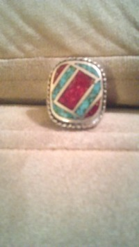 ring, Jewelry, silver with crushed turqoise and red coral, Ring seems to be silver with crushed turquoise and coral inlay