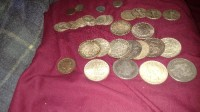Silver coins and diamond rings, Precious Metal or Stones, N/A, 14 Morgand and peace dollars. Also ,2 gold and diamond rings.