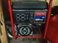 NEW ! troy bilt generator 5500 / 8250 watts 5 plugs plugs 240v 3, brand new. only sat in my garage and never used. troy-bilt 8250 starting watts 5500 continous watts generator. perfect condition. has 4 20 amp plugs at 120v and 1 30 amp plug at 120/240v. , Gently used