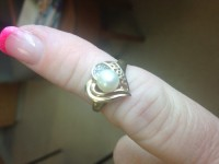 10kt yellow gold pearl and diamond heart ring, Jewelry,
