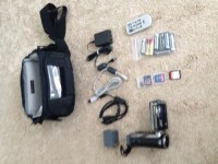 Jvc camcorder GZ-HM200BU, Electronics, JVC GZ-HM200BU, Barely out of the box. Never used... Has all power cords, usb, SD Micro SD cards, remote, carting case