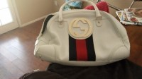 Gucci purse, Other, White Gucci purse with black and red stripe
