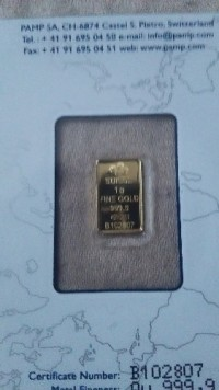 Gold bar 1 gram, Precious Metal or Stones, 1 gram, Still in vacuum pack.