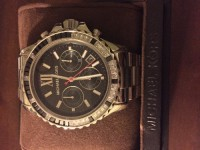 Michael Kors men's watch with original box and booklet. , Luxury Watch, Michael Kors- MK5753, Men's silver tone stainless steel bracelet watch with gemstone accents around the bezel. Original Price $295.00.