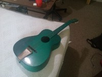Acoustic guitar, Musical Instruments, Equipment, It's a nice green guitar