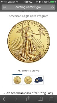 1987 lady liberty 1 ounce gold coin , Precious Metal or Stones, Gold coin