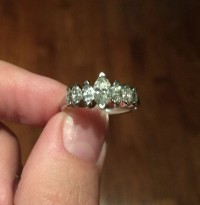 18K white gold + 1.25 carat diamond engagement ring, Precious Metal or Stones, Mix of Diamonds, Gold and other Gems and precious metals, Approximately 1.25 total carat weight in 7 tapered marquis cut diamonds (largest in center), varying from approximately G-I in color