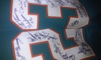 Very rare signed by hand 1972 miami dolphins jersey, Antique, Collectible, VERY RARE! It's a one of a kind you will not find this anywhere my grandfather played for the 1972 miami dolphins i got his jersey signed by all players at his memorial.