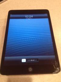 IPad Mini 16GB Black, I have a 16gb iPad mini for sale. Version 6.1. It has a cracked screen but it functions perfect, Gently used