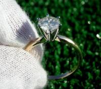 14K DIAMOND SOLITAIRE AND ENGAGEMENT RING, Selling Excellent Quality 14 KT WHITE GOLD BRILLIANT CUT DIAMOND SOLITAIRE .56 CARAT ENGRAVED IN SIDE THE BAND SIZE 7, Like new