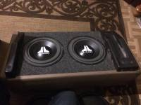 "2 JL 8"" subs 8WO-8 with box , 2 8"" JL Audio 8W0-8 subwoofers they're Underrated with 75+ watts RMS and 150+ watts peak, They hit hard, I have them in a box for sale, Like new"