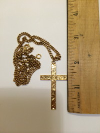 "Gold Cross and Chain, Total weight 21g.  Chain is 18"" Long.  Gold is 14K., Gently used"