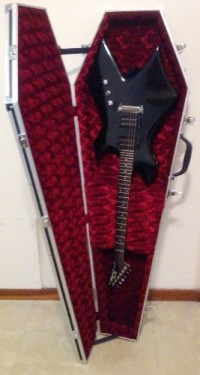 Electric Guitar with Case, Musical Instruments, Equipment, BC Rich Warlock guitar and amp plug-in with Coffin Case.