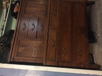 Old Style Dresser Oak Colored Wood 7 Slot With Cabinets