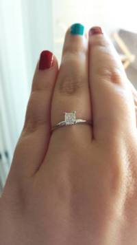 Engagement ring, Beautiful .52 carat radiant cut solitaire. Set in 18k while gold., Like new