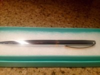 """Sincerely Tiffany Ballpoint pen in ruthenium., Other, Tiffany & Co Sincerely Tiffany, Ballpoint pen in ruthenium. Silver and gold etched """"Tiffany & Co"""". Never used, new In box, includes cloth pouch."""