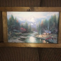 Thomas Kindle The End Of A Perfect Day 2 Painting, Antique, Collectible, Wood framed; great condition