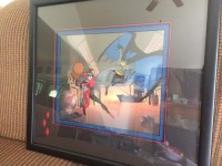 Harley Toys with Batman Cel Edition Painting, Antique, Collectible, 77th out of 500 collectible cel painting of Harley Toys with Batman; Has original frame and authentication on back
