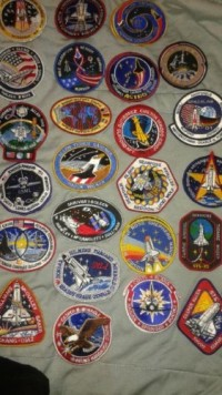 NASA patches, Antique, Collectible, a small collection of nasa patches, stickers, and, pins. collected in the 90's when my father worked there.