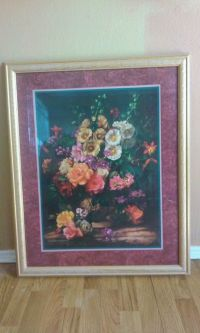 Framed print by Albert Williams, Other, Still Life with Holly Hocks