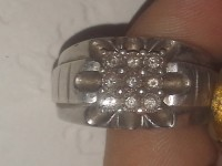 Mens diamond ring, Jewelry, Mens diamond ring,  Jtw 925 9 diamonds. It was tested by 4 different jewelers in Topeka ks and all the diamonds are real. Zales, Kay jewlers , Calhouns and retired jeweler. I was told the diamonds alone are worth 300 to 400 dollars.