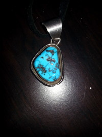 turquoise silver necklace , Precious Metal or Stones,
