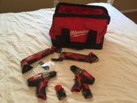 4 Milwaukee tools and 4 batteries , , 2 Milwaukee drills and 2 Milwaukee multi tools 4 Milwaukee 12v batterys no charger