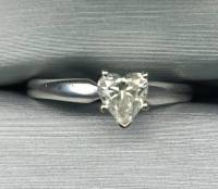 Beautiful wedding ring set 1/2 and 1/4 carrot diamonds, for sale here is a 1/2 carat white gold heart shaped solitaire 14k white gold wedding ring, and a 1/4 carat total weight diamond channel wedding band 14k white gold., Like new